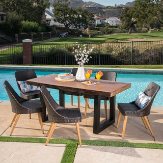 Oscar Outdoor Rectangle Light-Weight Concrete Dining Set by Christopher Knight Home & Concrete Outdoor Dining Sets For Less | Overstock