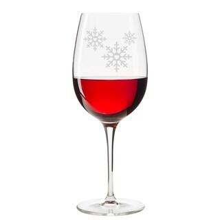 Snowflake Engraved 18 oz Wine Glass