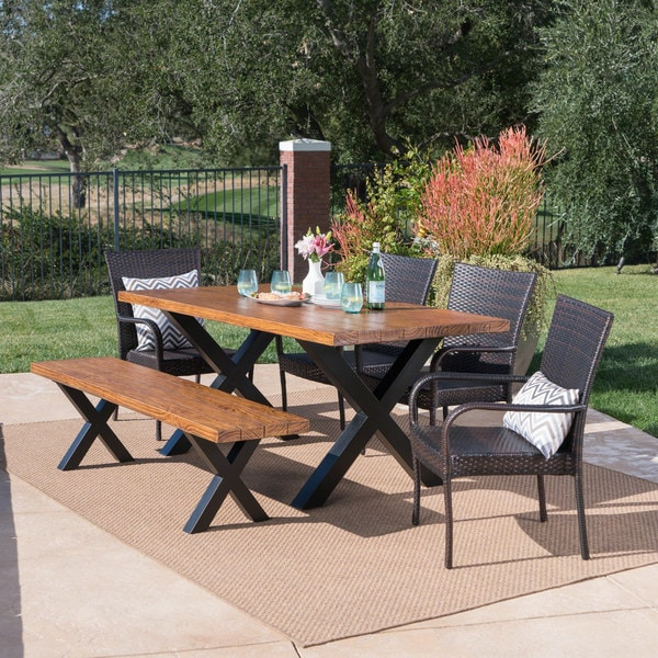 Lightweight Garden Furniture Ariel outdoor rectangle light weight concrete dining set by ariel outdoor rectangle light weight concrete dining set by christopher knight home workwithnaturefo