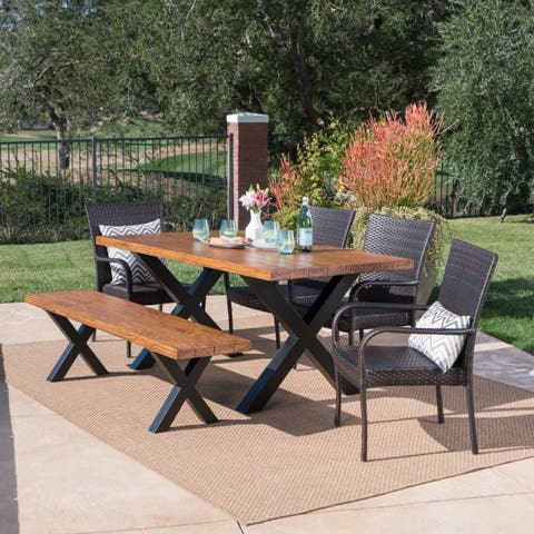 Ariel Outdoor Rectangle Light-Weight Concrete Dining Set by Christopher Knight Home
