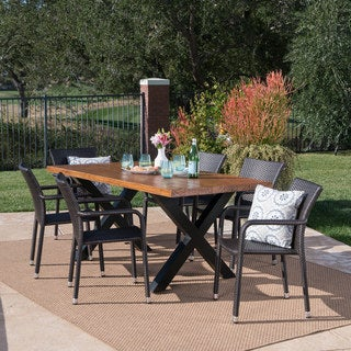 Triton Outdoor Rectangle Light-Weight Concrete Dining Set by Christopher Knight Home