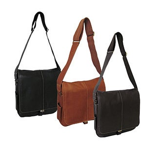 Amerileather Leather 'Teddy' Vertical Messenger Bag