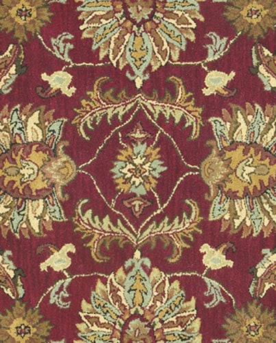 Hand Tufted Agra Red Gold Wool Rug 8 Round: Hand-tufted Agra Wool Rug (8' Octagon)