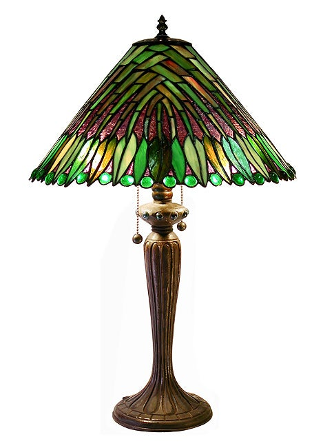 Warehouse of Tiffany Tiffany-style Leaves Cone Table Lamp...