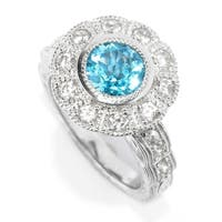 Sterling Silver Swiss Blue Topaz & White Zircon Ring, Size-7