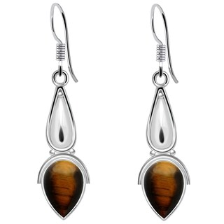 925 Sterling Silver Handmade Dangle Earrings with Choice of Gemstone