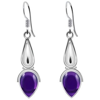 925 Sterling Silver Handmade Dangle Earrings with Choise of Gemstone