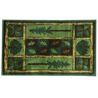 Woodland Escape Carved Nylon tufted accent rug by Bacova - Brown/Green - 1'8 x 2'8