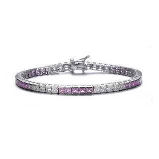 Collette Z Sterling Silver Pink Cubic Zirconia Accent Tennis Bracelet
