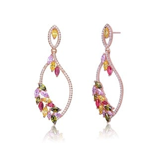 Collette Z Rose Gold Plated Leaf Shaped Multicolor Cubic Zirconia Accent Dangle Earrings