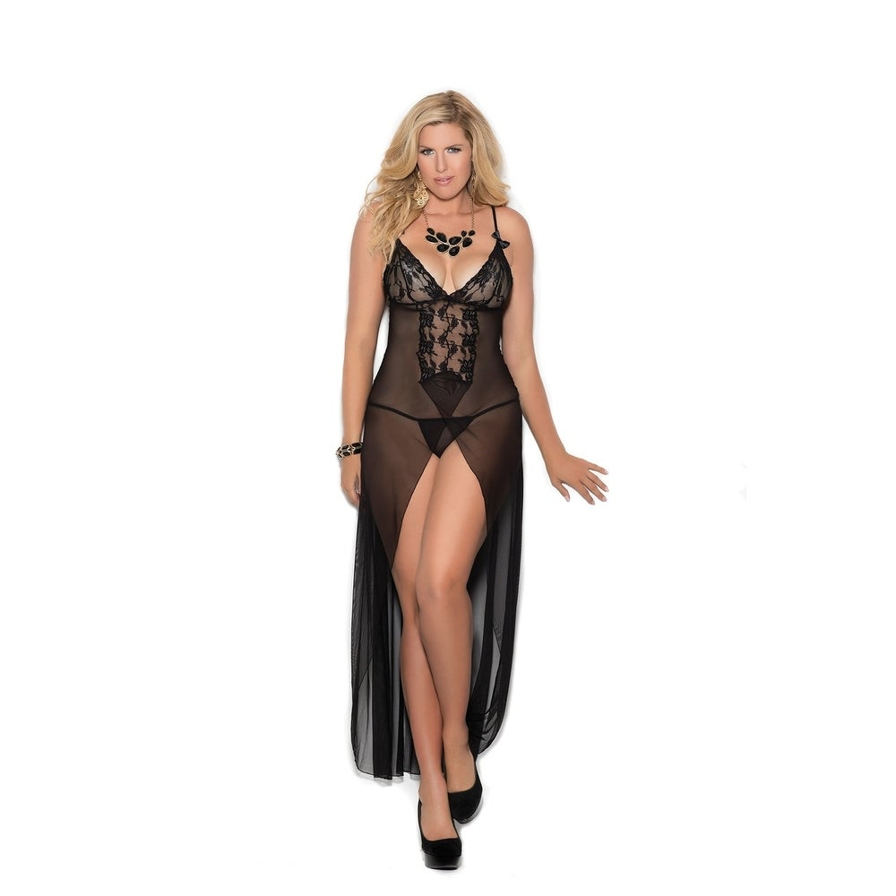 Elegant Moments womens plus size long mesh gown with g-string