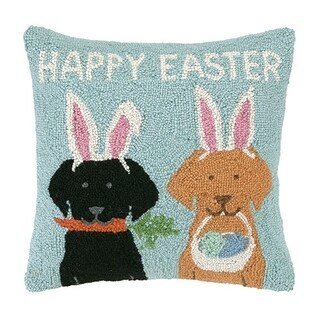 """Happy Easter Labs Hook Pillow 16X16"""""""