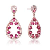 Collette Z Rose Gold Plated Teardrop Shaped Red Cubic Zirconia Accent Drop Earrings