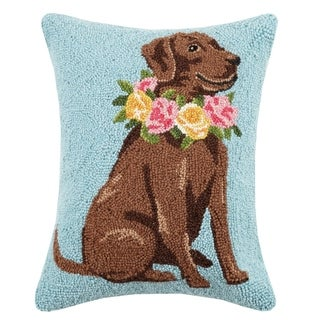 """Chocolate Lab Floral Wreath Hook Pillow 14X18"""""""