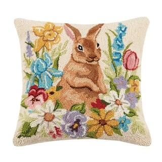 "Floral Bunny Hook Pillow 18X18"""