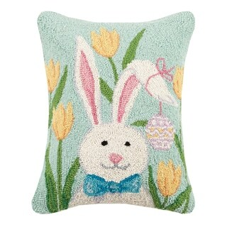 Bunny With Tulips Hook Pillow 14X18""