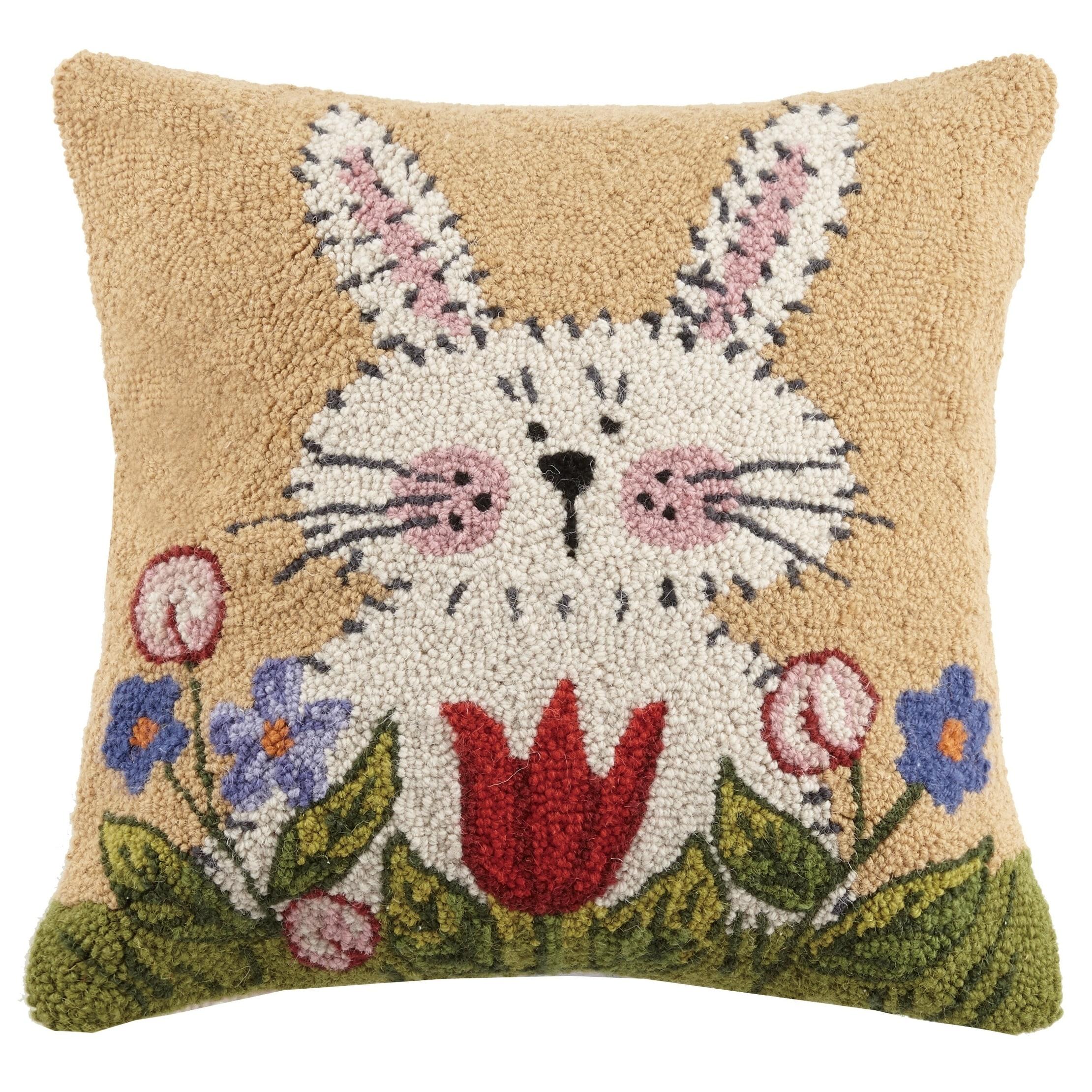 Lisa Hilliker Bunny In Garden II Hook Pillow 18X18