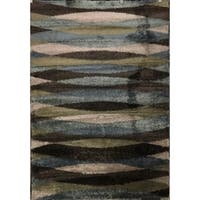 Striped Waves Blue Multi Area Rug - 5'3 x 7'6