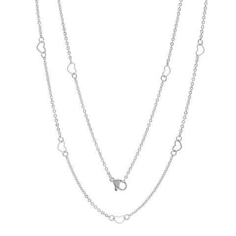 Piatella Ladies Stainless Steel Heart Chain Necklace in 2 Colors