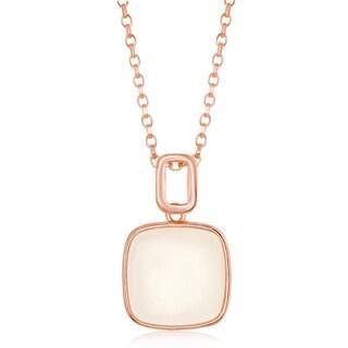La Preciosa Sterling Silver Italian High Polish Rose Gold Natural White Moon Stone 16+2'' Necklace