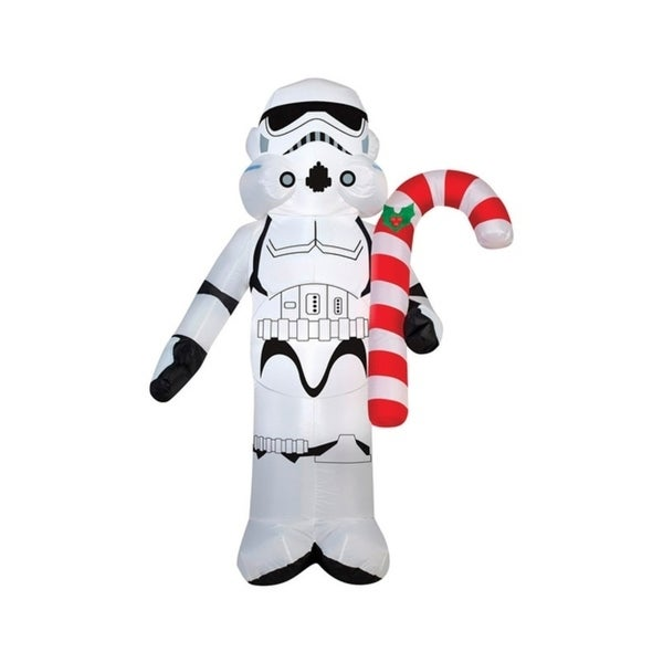 gemmy industries star wars stormtrooper holding candy cane christmas inflatable whiteblack fabric