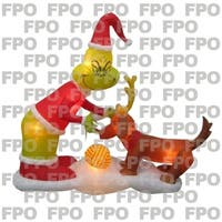 Gemmy Industries  Grinch and Max Scene  Christmas Inflatable  Fabric  24-7/16 in. x 12-9/16 in. x 14-3/4 in.