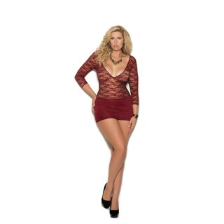 Elegant Moments women's Plus Size lace and lycra mini dress