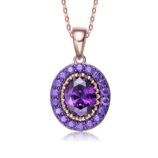 Collette Z Rose Gold Plated Purple Cubic Zirconia Accent Round Pendant Necklace