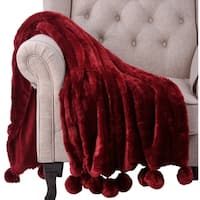 "BOON Pompom FauxFur Throw Couch Blanket, 50"" x 60"" - 50"" x 60"""