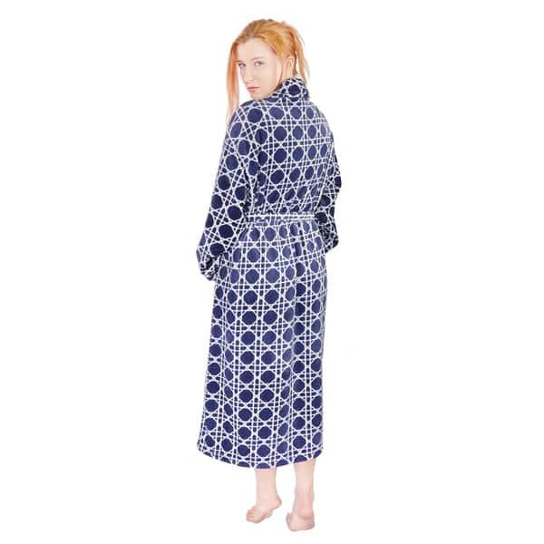 WOMEN DOTS STAR PRINT FLANNEL LONG SLEEVE BATH ROBE DRESSING GOWN SLEEPWEAR FADD