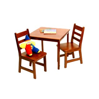 Lipper International Child's Square Table and 2 Chairs Set - Cherry finish