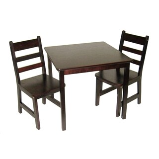 Lipper International Child's Square Table and 2 Chairs Set - Espresso finish