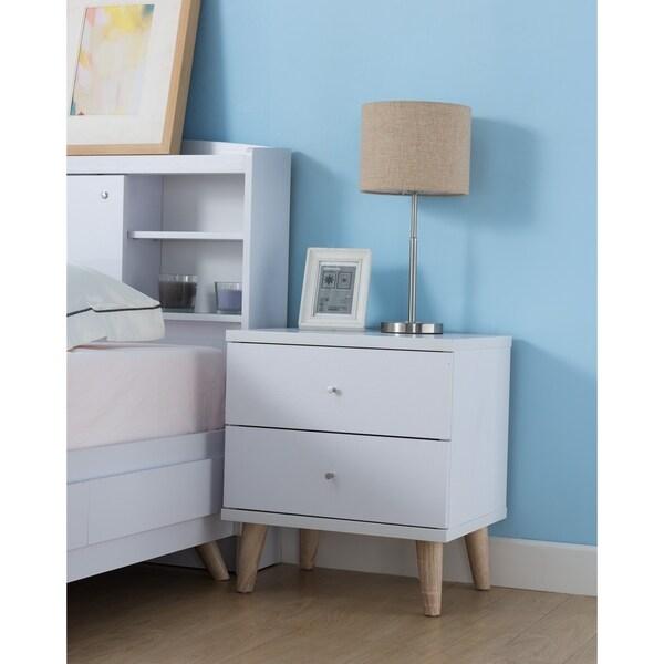 shop carson carrington gjovik modern white 2 drawer nightstand on sale free shipping today. Black Bedroom Furniture Sets. Home Design Ideas