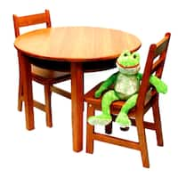 Lipper International Child's Round Table with shelf and 2 chairs - Pecan