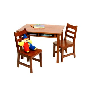 Lipper International Child's Rectangle Table with shelves and 2 Chairs-Cherry Finish