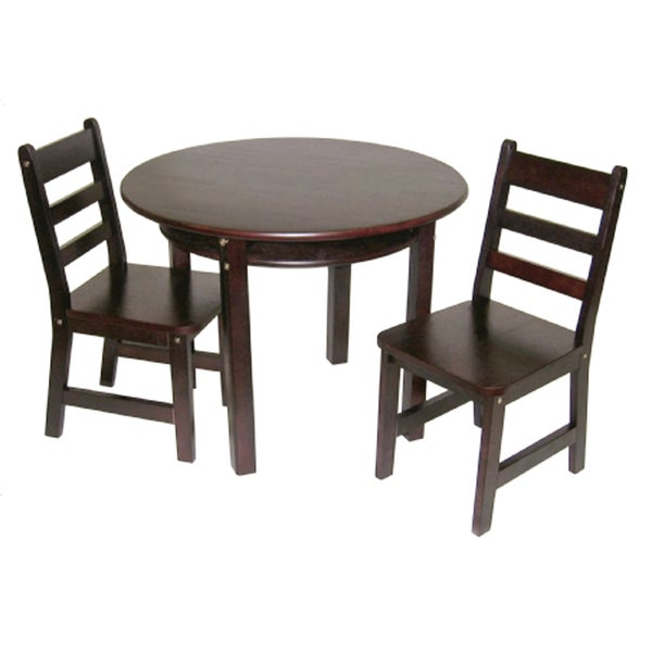 Lipper International Child's Round Table with shelf and 2 chairs-Espresso
