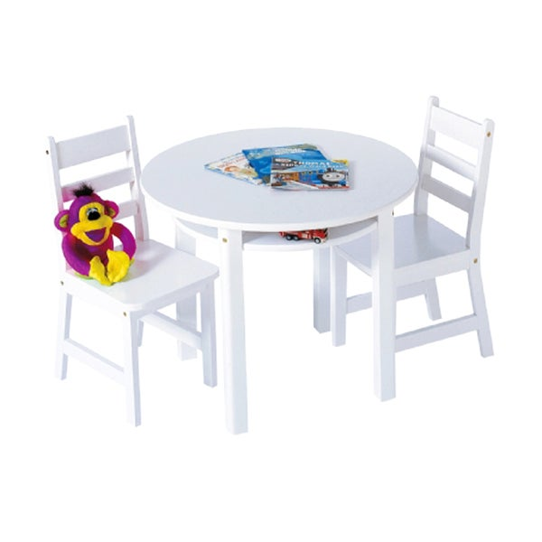 White Lipper International 524W Childs Round Table with Shelf and 2 Chairs