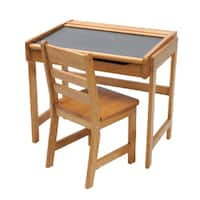 Lipper International Child's Desk with Chalkboard Top and Chair - Pecan