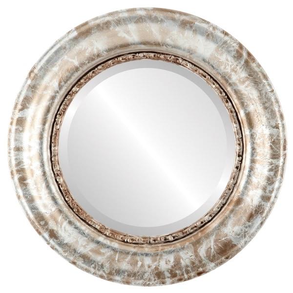 Shop Chicago Framed Round Mirror In Champagne Silver