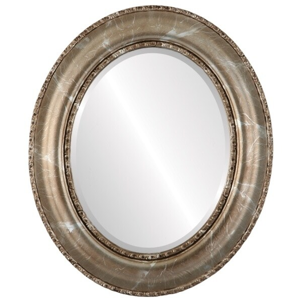 Somerset Framed Oval Mirror in Champagne Silver - Antique Silver (Medium (15-32 high) - 29X35)