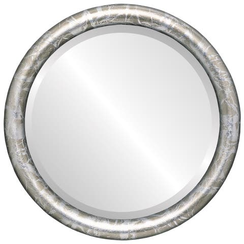 Pasadena Framed Round Mirror in Champagne Silver - Antique Silver
