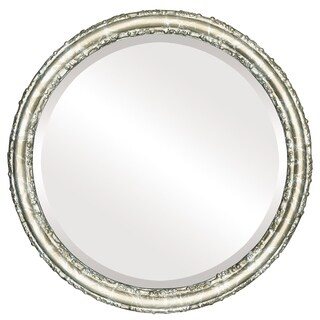 Virginia Framed Round Mirror in Champagne Silver - Antique Silver