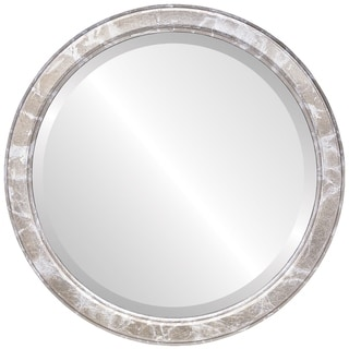 Toronto Framed Round Mirror in Champagne Silver - Antique Silver