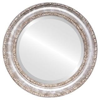 Dorset Framed Round Mirror in Champagne Silver - Antique Silver