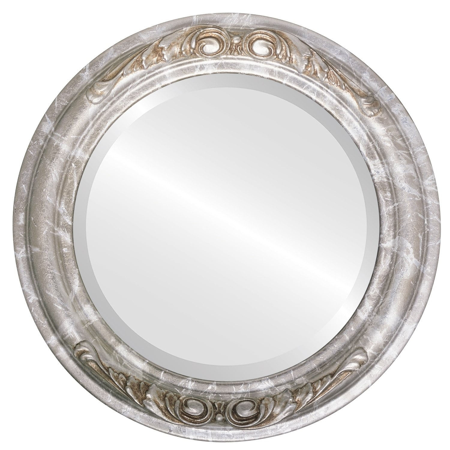 Florence Framed Round Mirror in Champagne Silver - Antique Silver (Silver - Antique - 21x21)
