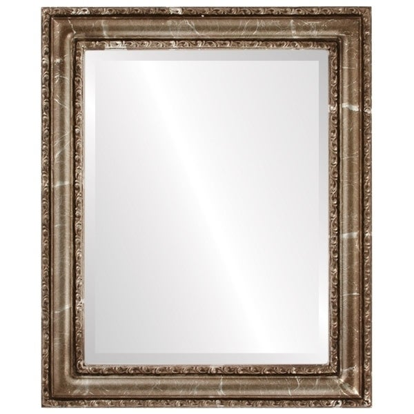 Dorset Framed Round Mirror in Champagne Silver - Antique Silver (Medium (15-32 high) - 23x27)