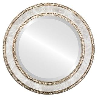 Monticello Framed Round Mirror in Champagne Silver - Antique Silver
