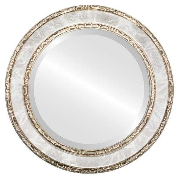 Monticello Framed Round Mirror in Champagne Silver - Antique Silver
