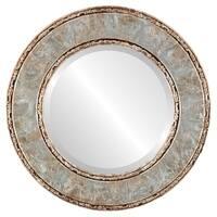 Paris Framed Round Mirror in Champagne Silver - Antique Silver