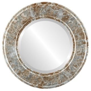 Montreal Framed Round Mirror in Champagne Silver - Antique Silver